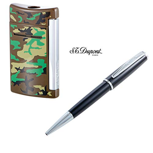 S.T. Dupont MINIJET Woodland CAMO Torch Lighter and S.T. Dupont Saint Michel Black Lacquer Ballpoint Pen Combo Gift Set 58% Off Retail'