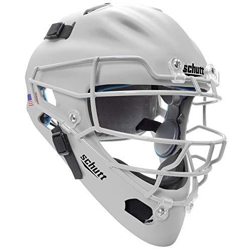 Schutt Sports Air MAXX Hockey-Style Catcher's Helmet with Steel Faceguard Matte - Batting Schutt Helmet White