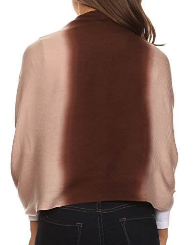 Sakkas CHS156 - Vicki Trendy Ombre Stripe Tie Dye Pashmina/ Shawl/ Wrap/ Stole - Chocolate - OS