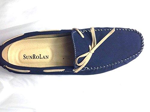 Sunrolan Mens Mode Robe Décontractée En Cuir Appartements Conduite Mocassins Mocassins Chaussures Bleu Marine