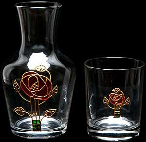 Celtic Glass Designs Hand Painted Water Set Comprising Carafe and Glass in a Mackintosh Pink Rose Design. - Mackintosh Rose Gift Set