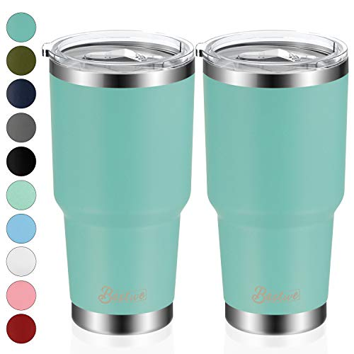 2 Pack 30oz Vacuum Insulated Tumblers, Bastwe Double Wall Stainless Steel Travel Mug with Lid and Straw for Home, Office, School, Works Great for Ice Drink, Hot Beverage (Tiffany Blue)