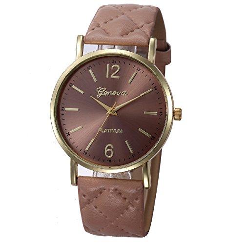Ikevan Fashion Women Geneva Roman Watch Lady Leather Band Analog Quartz Wrist Watch (Khaki)