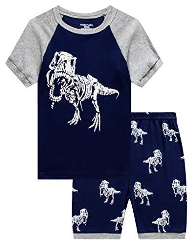 Family Feeling Big Boys Glow in The Dark Dinosaur Pajamas Short Sets 100% Cotton Kid Summer Pjs 12