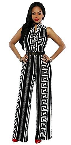 Olaron Women Jumpsuits Elegant Button Loose Long Wide Leg Jumpsuits Romper With Belt Black Xxxlarge