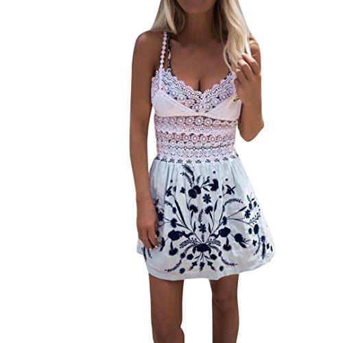 HI-MZY Women Ladies Lace Top Sleeveless Mini Dress Summer Beach A-Line Dress Skirt Set (XL, White) ()
