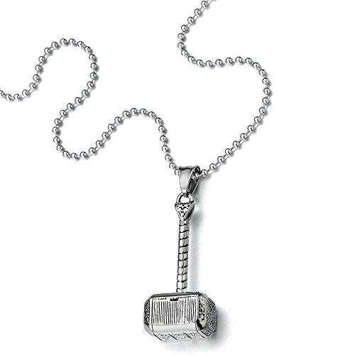 Marteau de Thors Pendentif Collier Homme Garçons Acier Inoxydable - avec 60CM Chaîne de Boule
