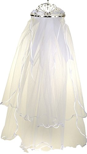 Flower Girl First Communion Veil Two Layers Tulle & Tiara Attach White TR T103 Flower Girl First Communion Veil