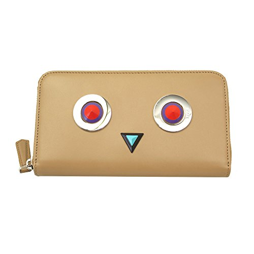 Fendi Women's Beige Leather Long Wallet 8M0299 Sl7 Zip Around