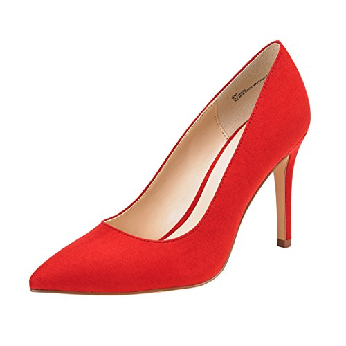JENN ARDOR Stiletto High Heel Shoes for Women: Pointed, Closed Toe Classic Slip On Dress Pump-RED 7.5 B(M) US ()
