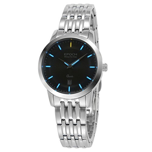 EPOCH 6023L Waterproof 50m tritium Gas Blue Luminous Steel Strap Black dial Vogue Business Lady Women Quartz Watch Wristwatch -  EPOCH 6023L blue steel black