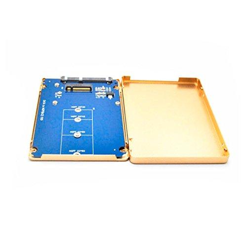Aobiny B M key socket 2 M.2 NGFF (SATA) SSD to 2.5 SATA adapter card with case (Gold)