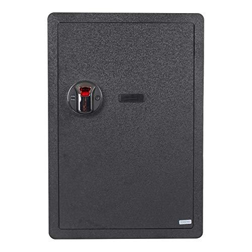 (Fingerprint Security Safe Box Waterproof Lock Box Cabinets Gun Pistol Cash Strongbox Solid Steel Safety Jewelry Storage Money Boxes w/Deadbolt Lock 2 Emergency Keys 4 Battery Wall-Anchoring)