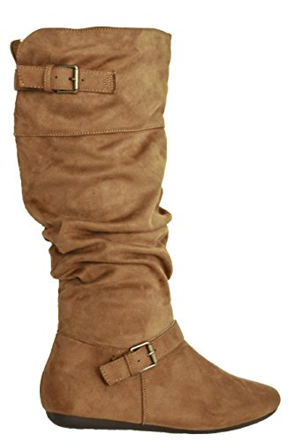 Herstyle Womens Slollie Faux Suede Kalfslengte Slouchy Buckled Up Boots Bruin