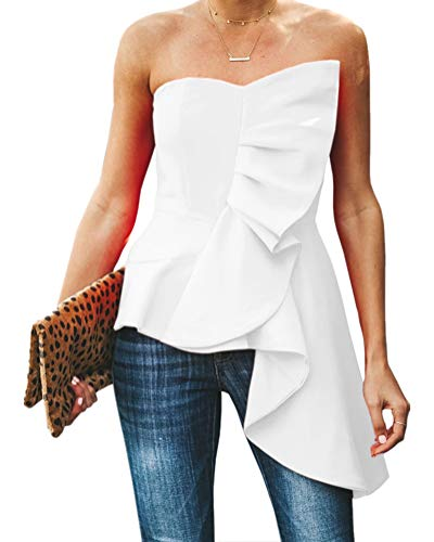 Valphsio Womens Ruffle Party Blouse Strapless Asymmetrical Peplum Statement Top Shirts White