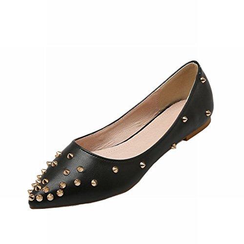Carolbar Womens Studded Fashion Rivet Sexy Elegance Pointed Toe Loafer Flats Shoes Black 5Y5eqfh1qc