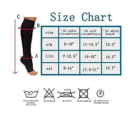3 Paires Chaussettes Compression Zip Sox Soutien-Gorge Extensible /À Fermeture /Éclair Bas /À Bout Ouvert,Beige,S//M New Compression Socks,