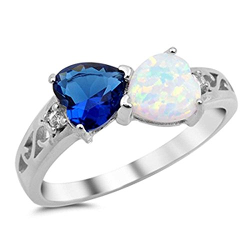 Double Heart Ring Filigree 925 Sterling Silver Lab Created White & Simulated Blue Sapphire Round CZ