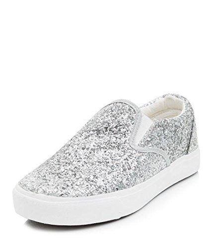 3e6ab20860d1 Womens Silver Glitter Slip On Plimsolls  Amazon.co.uk  Shoes   Bags
