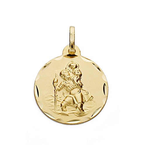 or 18k St. Christopher médaille 17mm. [AA0543]