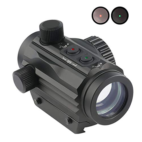 Crossbow Sight (Twod 1x22mm 5 MOA Red Green Dot Sight,Reflex Holographic Tactical Scope Dual Color Illuminated Compact Micro Red/Green Reticle with Circle Dot Micro Rifle Scope Fits 21mm Picatinny Rail Mount)