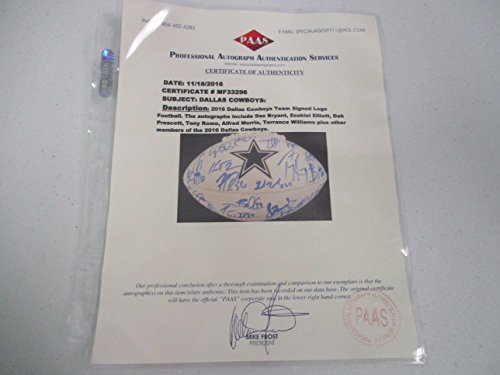 2016 Dallas Cowboys Team Signed Autographed Football Prescott, Elliott Paas Certified Coa by Signed Football