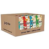 Popchips Potato Chips, Variety Pack, 24 Count (Single Serve 0.8 oz Bags), 4 Flavors: Salt, BBQ, Sour Cream & Onion, Salt & Vinegar