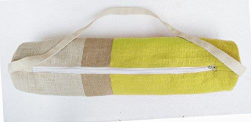 Modernes Yoga Mat Bag–gelb jute Turnbeutel in Moderne Farbe Block Design–Yoga Tote–Yogamatte Sling Bag–gelb natur Elfenbeinfarben Jute Yoga Bag Yoga backpack- Yoga Zubehör–Tasche–Geschenk