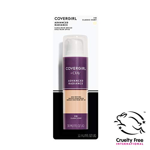 (COVERGIRL Advanced Radiance Age Defying Liquid Foundation in Classic Ivory, 1 Bottle (1 oz), Hides Wrinkles & Lines, Sensitive Skin Safe (packaging may vary))