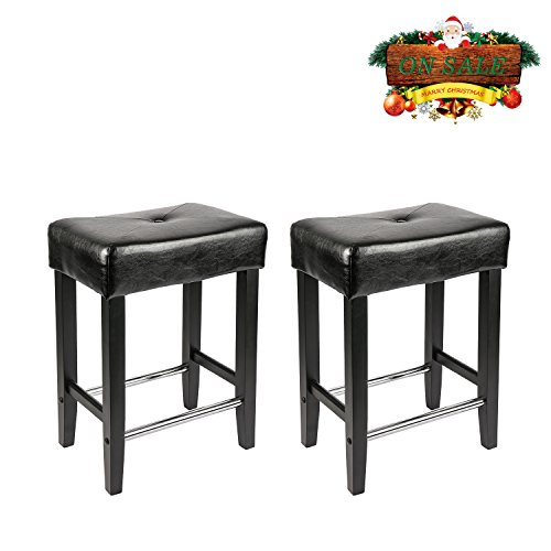 LCH 24-Inch Bonded Leather Bar Stools, Backless Counter Stools with Wood Legs, Black, Set of - Stool Leather Bonded