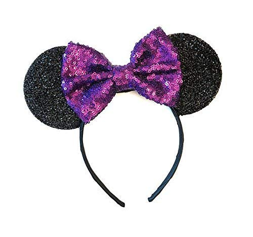 Purple Mickey Ears, Sparkly Mickey Ears, Purple Minnie Ears, Rainbow Ears, Minnie Ears, Rose Gold -