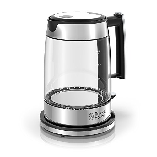 Russell Hobbs Glass 1.7L Electric Kettle, Black & Stainless