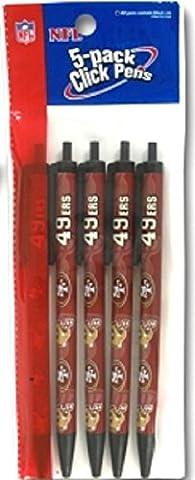 NFL San Francisco 49ers Disposable Black Ink Click Pens, 5-Pack - San Francisco 49ers Nfl Football