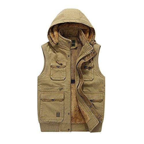 Male Multi-pocket Outdoor Vest Plus Velvet Jacket Yellow