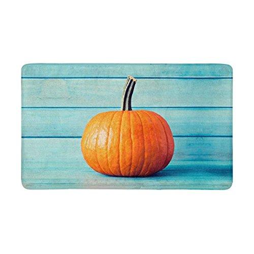 Halloween Decoration Pumpkin over Turquoise Colored Wood Doormat Non-Slip Indoor And Outdoor Door Mat