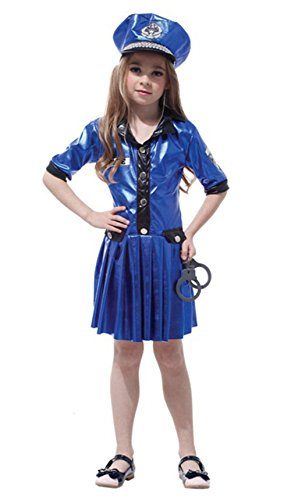 stylesilove Little Girls Police Officer Halloween Costume Party Dress (L/7-9 Years, Blue Police Officer) ()