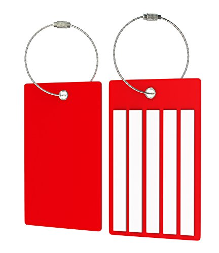 Travel Suitcase Luggage Bag Tags, Airlines Baggage Labels (2 Tags Red)