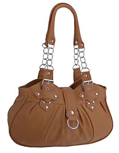 EyeCatchBags - Huron Faux Leather Womens Shoulder Bag Handbag Black Tan