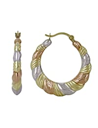 HOOP CREOLE EARRINGS IN 10KT TRI COLOUR GOLD 1.0 GRAMS