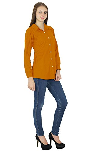 Button Kurta Coton Top Shirt Orange Longues Manches Vtements Rust Down rwvInqXr