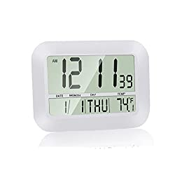 Silent Desk Clock, HeQiao Decorative Wall Clock Slim Digital Calendar Day Clock Elderly Large LCD Alarm Clock Battery Operated Temperature Snooze Clock for Home Office (12 Inch, Ivory White)