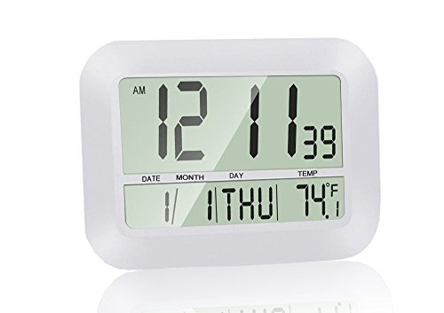 Hanging Desk Clock (Silent Desk Shelf Clocks, HeQiao Decorative Wall Clock Slim Digital Calendar Day Clock Elderly Large LCD Alarm Clock Battery Operated Temperature Snooze Clock for Home Office (12 Inch, Ivory White))