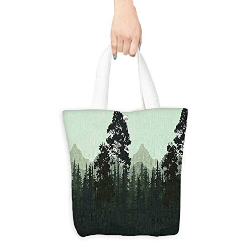 (Packable Shopping Bag Apartment Decor Nature Theme Trees and Mountains Silhouettes Night Forest Landscape Print Pale Green (W15.75 x L17.71 Inch))