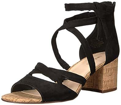 Nine West Women's Greenroom Suede Dress Sandal, Black, 8.5 M US