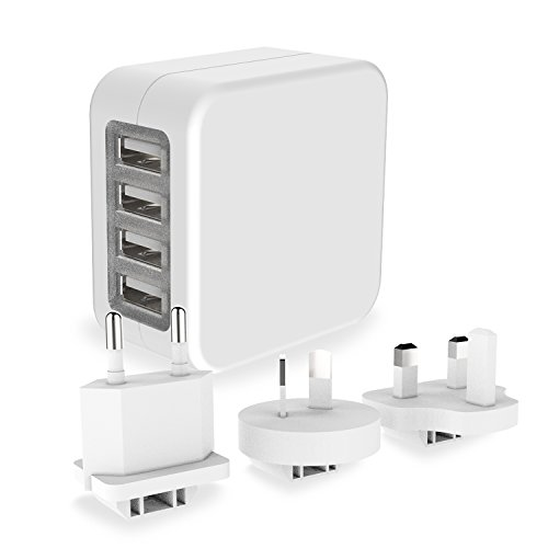 USB Ladegerät Reiseadapter mit US / UK / EU / AUS Stecker 4-Port USB-Anschlüsse 4.6A kompatibel mit iPhone 7 / 6 Plus / 6 Samsung Galaxy S7 / S6 Edge / S7 Edge iPad Air / Mini u.a. Smartphones sowie Tablets (Schwarz)