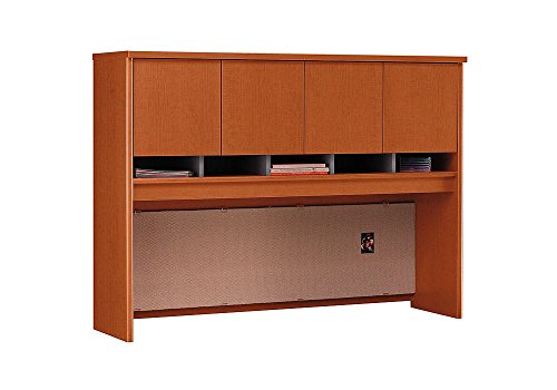 60''W Four Door Hutch Dimensions: 58.875''W x 15.375''D x 43.25''H Weight: 152 lbs Auburn Maple by Bush Business Furniture