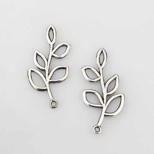 LolliBeads (TM) Vintage Antiqued Silver Tone Sideways Leaf Branches Charm Pendant Bracelet Connector - 20 Pcs