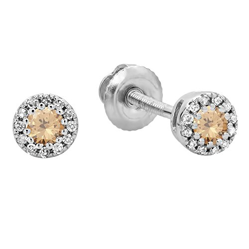 Dazzlingrock Collection 0.20 Carat (ctw) 10K Round Champagne & White Diamond Ladies Cluster Halo Stud Earrings 1/5 CT, White Gold ()