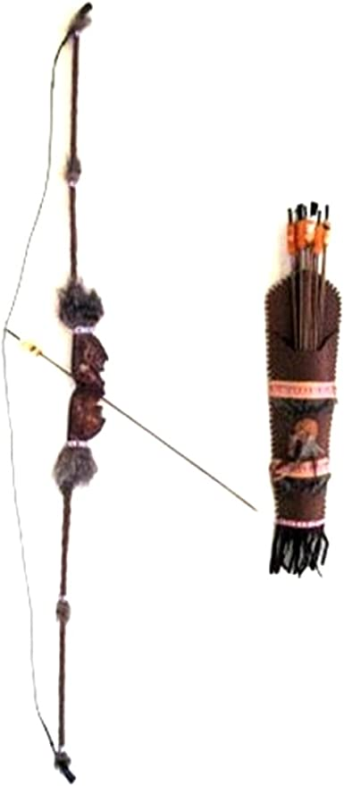 Native American Toy Bow /& Arrow Set With Faux Fur Beads /& Feather Accent