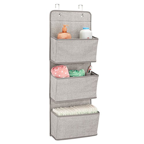mDesign Soft Fabric Wall Mount/Over Door Hanging Storage Organizer - 3 Large Pockets for Child/Kids Room or Nursery, Hooks Included - Textured Print - Linen/Tan